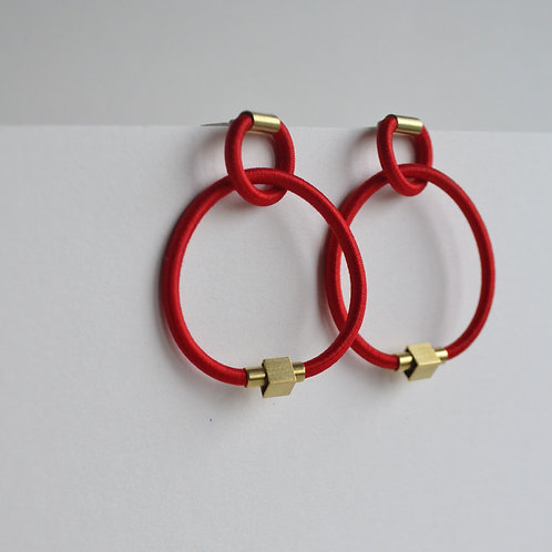 Bright Red Knot Hoops