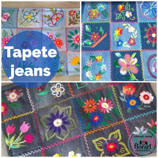 Tapete em jeans com bordado livre