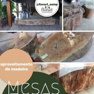 Mesa com aproveitamento de madeira