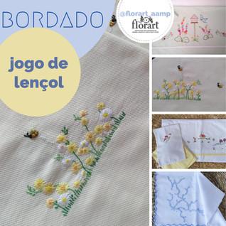Jogo de lençol com bordado livre