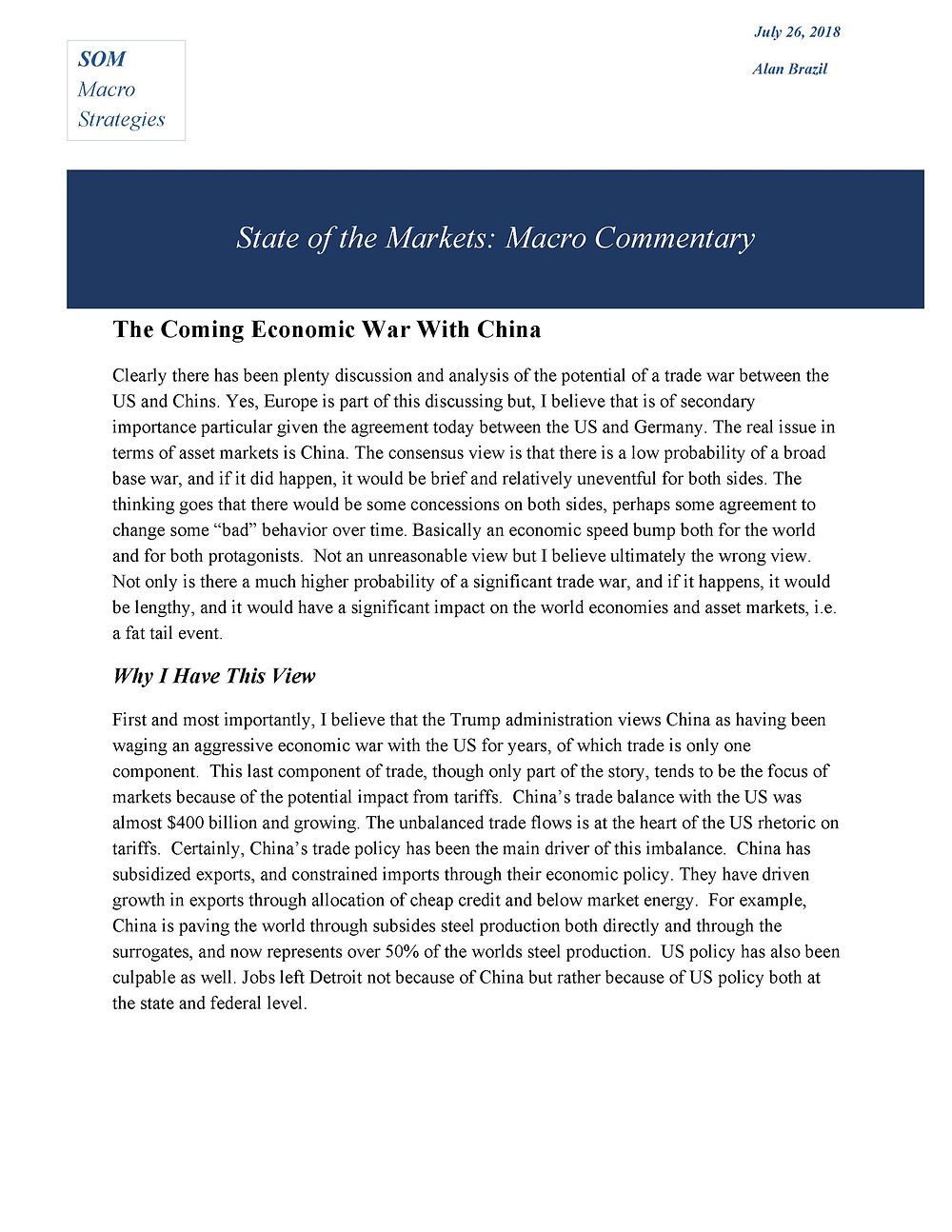 Here is my latest macro commentary