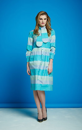 BLOCK STRIPED SILK DRESS- PASTELS