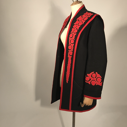 80'S RED & BLACK JACKET WITH APPLIQUÉ