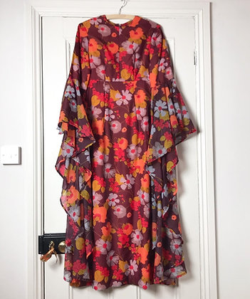 1970's EPIC LAYERED SLEEVED FLORAL DRESS