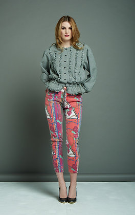 RED PATTERNED JEANS