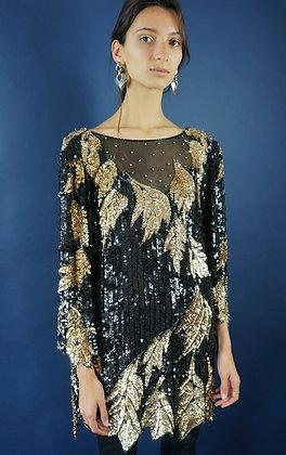 1980'S BLACK AND GOLD SEQUIN EMBELLISHED TOP