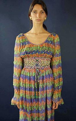 1970'S PSYCHEDELIC PRINT MAXI DRESS