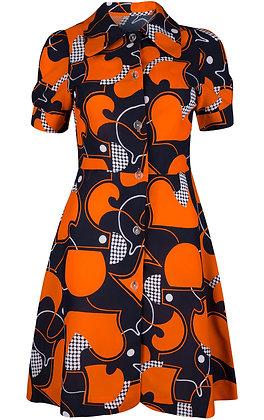 1960'S ORANGE LEAF DRESS