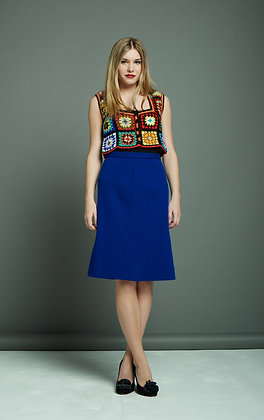 BRIGHT BLUE WOOL SKIRT