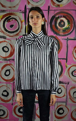 1980'S STRIPED PUSSY BOW BLOUSE
