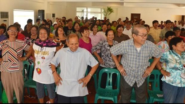 Senior Citizens doing small exercise