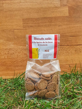 Biscuits salés farine de Lin Brun Graines de Moutarde (150 g)