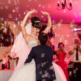 Wedding dance, happy couple dancing on w