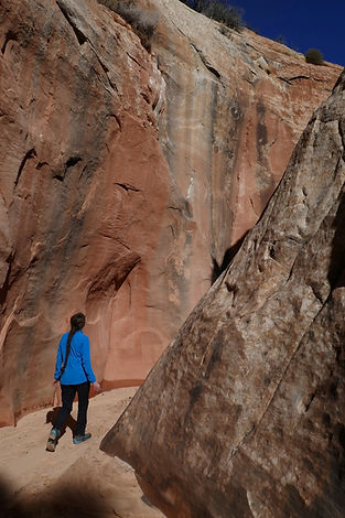 Slot-canyon hiking, Grand Staircase—Escalante National Monument, near Boulder & Escalante, Utah.