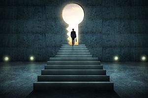 Success businessman climbing on stair ag
