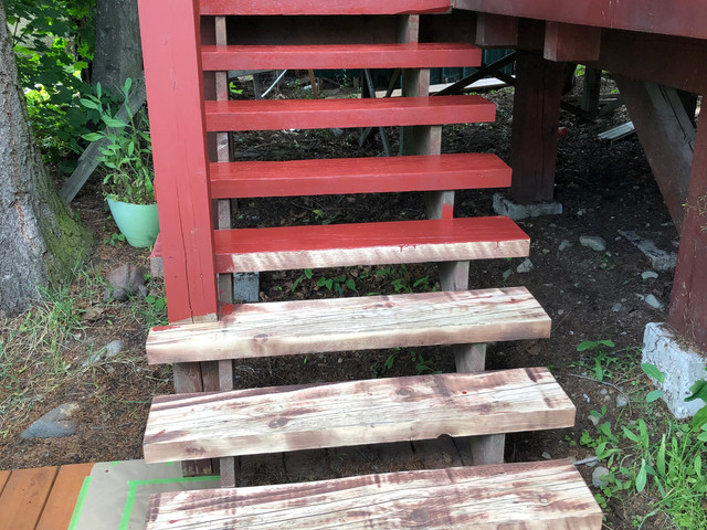 Stairs Staining In Progress- Rossland