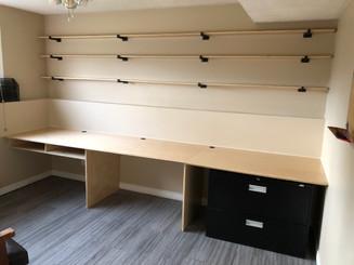 Custom Birch Desk and Shelving