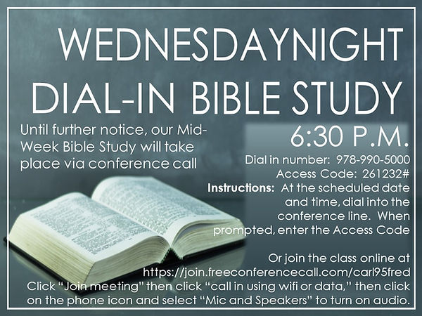 Mid-Week Bible Study until further notic