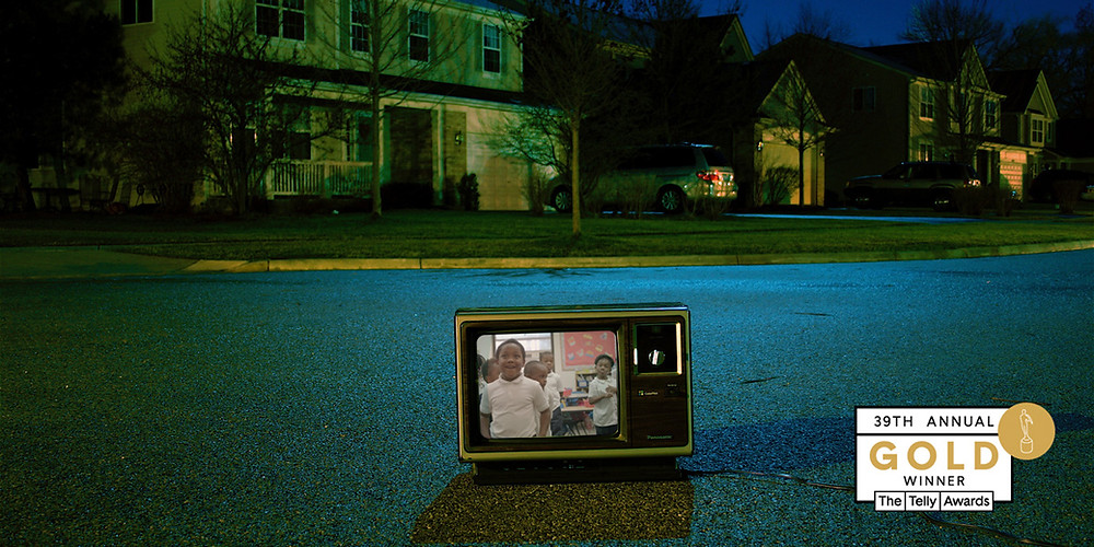 Old television in the middle of the street