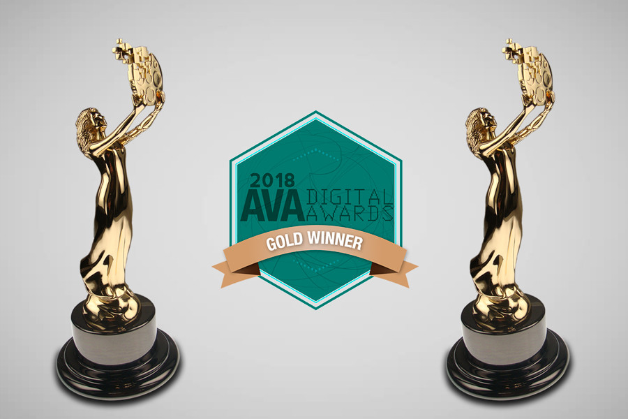 Two Gold 2018 AVA Digital Awards and AVA logo