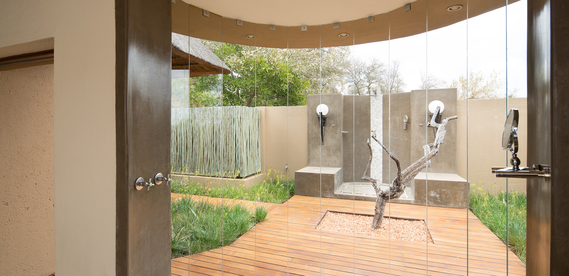 Shower inside our outside at Weaver's Nest Lodge