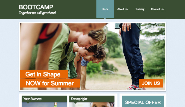 Health & Wellness website templates – Fitness Bootcamp