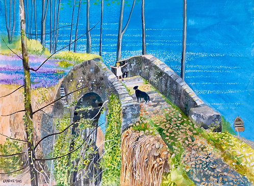 Little girl and Border Collie walking on a stone bridge in a colourful imaginary forest with the sea on the right