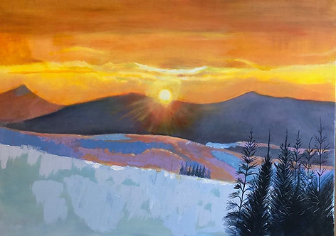 Sunset in a snowy mountain place, with pine trees in front and yellowish and orangish colours in the sky