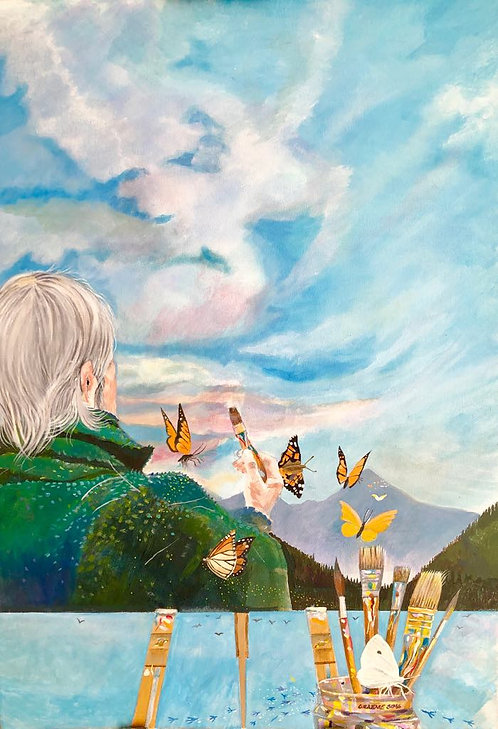 A painter with a green jumper and white hair is painting a canvas that is a sky with many flying butterflies - surrealism