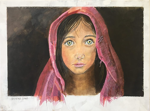 Indian girl portrait with a scarlet veil and green eyes