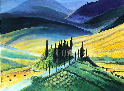Tuscany hill with a house, Cypresses and curved fields all around. Magical atmosphere.