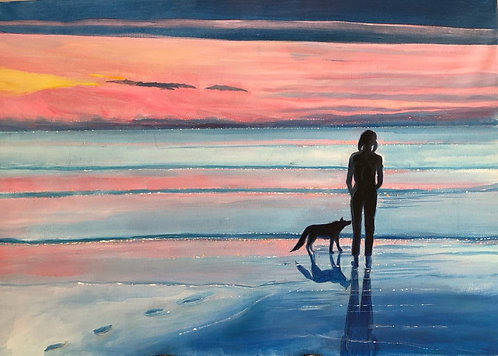 A woman and her dog on a wet shore in the evening. Pinkish and bluish in the sky and on the sea