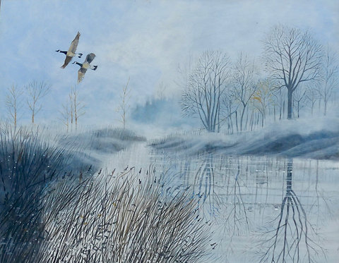 Misty morning with flying ducks, bushes, trees and a cold river