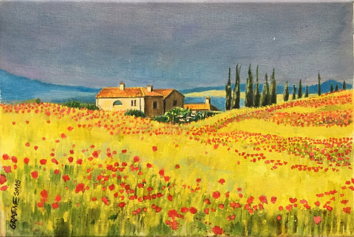 Tuscany poppy field with a big farmhouse and cypresses in background