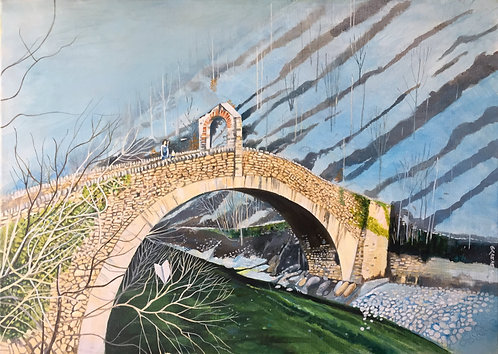 Big Italian stone bridge with a woman and her child on it throwing paper planes towards the river