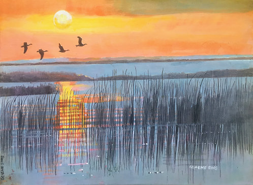 A line of reeds in the inland sea, three flying birds. The yellow orange sun creates beautiful reflections on the water