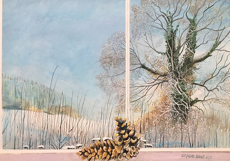 Fine art acrylic painting: winter tree and vegetation seen through window, in front of which there are two pine cones.
