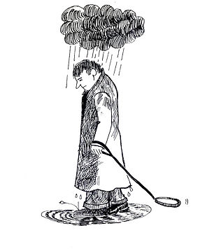 Drawing of a sad man walking with a raining cloud over his head and dragging an empty dog lead