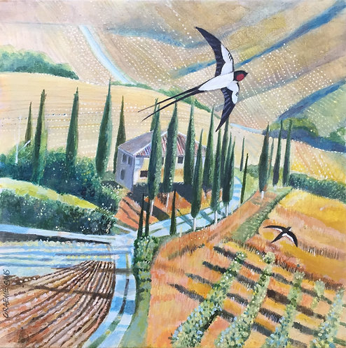 A bird on the foreground flying high in the sky over a Tuscany road that leads to a big house surrounded by Cypresses