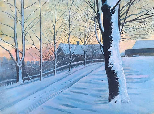 A snowy country road at dusk and a house with pinkish and bluish colour in the sky