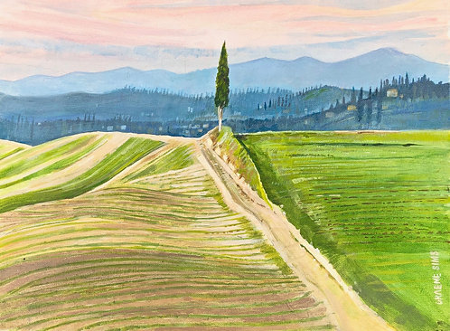 A cypress on the edge of an harvested Italian curved field. Blue mountains and hills in background
