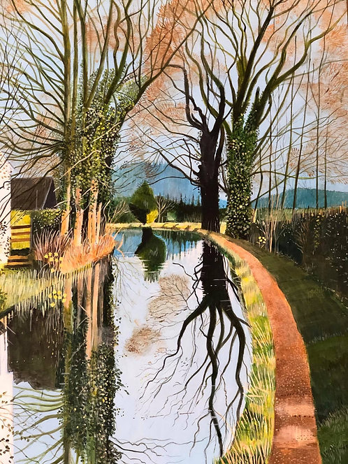 Welsh canal with reflection on it. There is a green path along it with trees and bushes and a house on the left