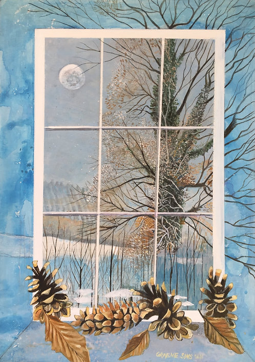 There are 4 pine cones and 3 leaves at a window, through which you can see a snowy field with a big tree and the moon.