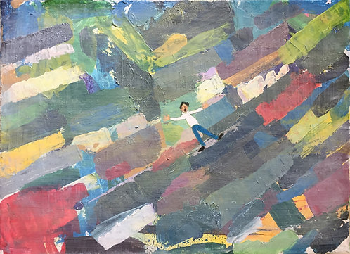 Man falling down from the sky on a colourful land - it represents the feeling in this Covid period