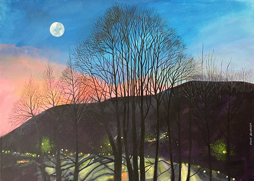 It's dark, the moon is up in the sky and the rush hour bustling light of cars lit the road at the hill feet