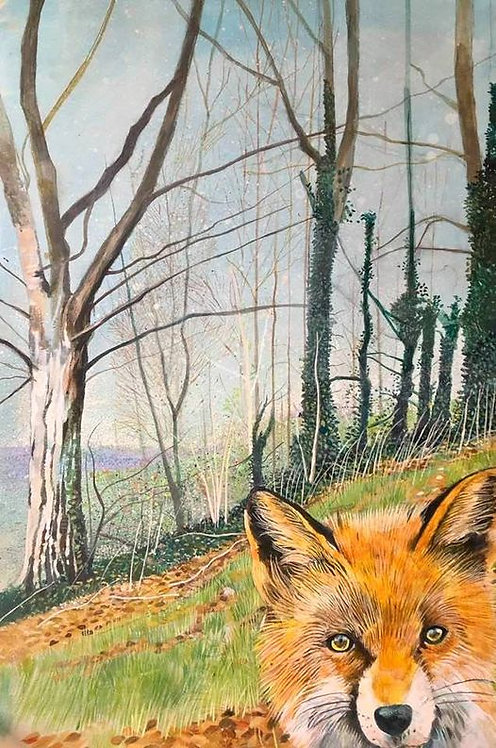 Wild piece of wood with autumnal leaves on the ground, bare trees around and a fox in the foreground
