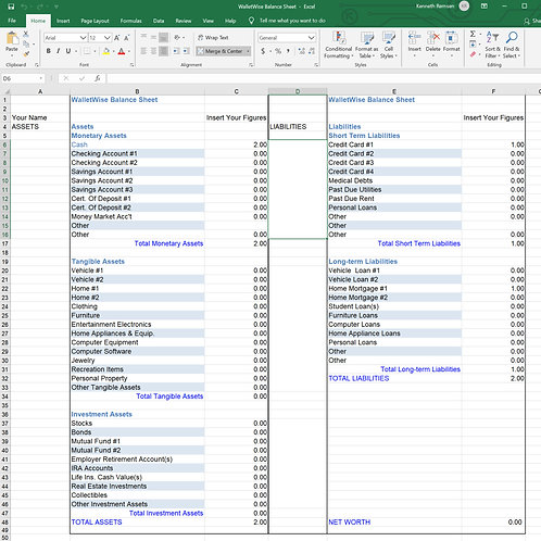 WalletWise Balance Sheet