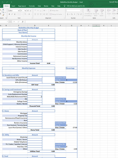 Monthly Personal Budget in Excel with Categories
