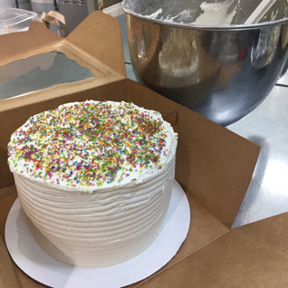 vanilla cake with lots o' sprinkles