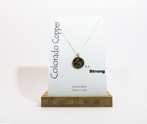 """""""Be Strong"""" Copper Cutout Necklace"""